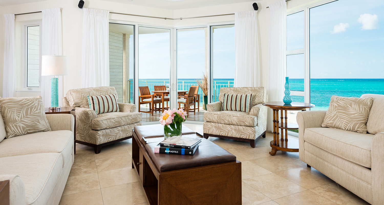 West Bay Club Ocean Front Luxury 1 Bedroom Suite-Living room