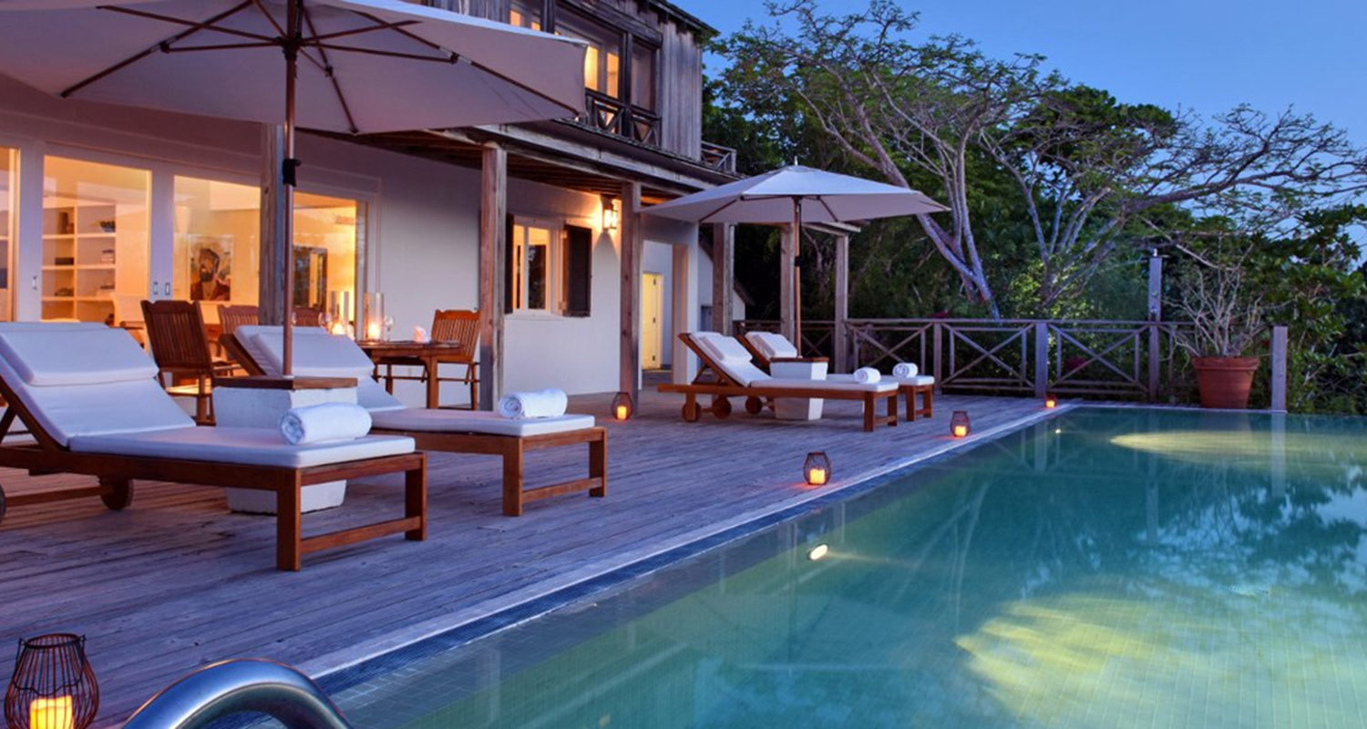 Parrot Cay - Private Estate - Pirate House Pool Exterior Evening